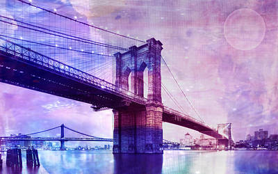 Graph Mixed Media - Brooklyn Bridge by Neha Rautela