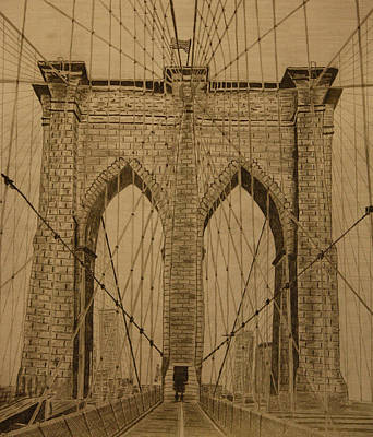 Brooklyn Bridge Drawing - Brooklyn Bridge by Roozbeh Mirebrahimi