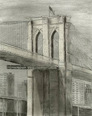 Brooklyn Bridge Drawing - Brooklyn Gothic by Carl Frankel