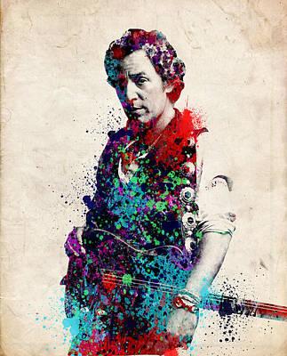 Rock N Roll Icons Digital Art - Bruce Springsteen  by Bekim Art