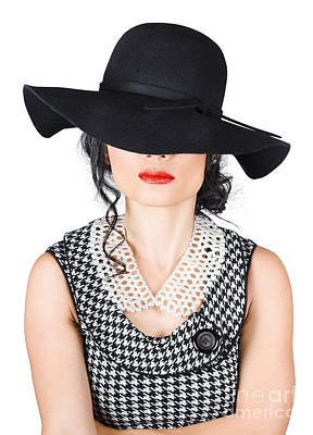 Brunette Woman In Chic Pearl Jewelry. Fashion Hats Print by Jorgo Photography - Wall Art Gallery