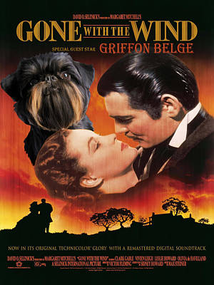 Brussels Griffon Art - Gone With The Wind Movie Poster Original by Sandra Sij