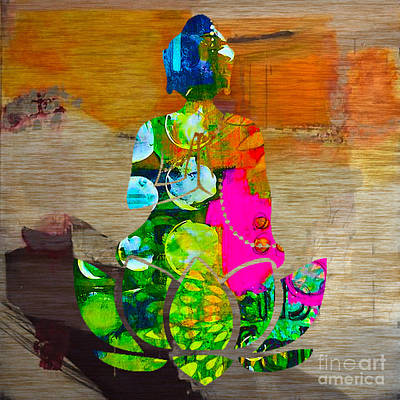 Bamboo Mixed Media - Buddah On A Lotus by Marvin Blaine
