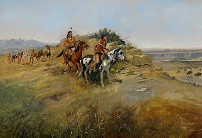 Bows Painting - Buffalo Hunt by Charles Marion Russell