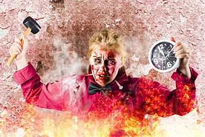 Burning Girl Holding Clock And Hammer. Apocalypse Now Print by Jorgo Photography - Wall Art Gallery