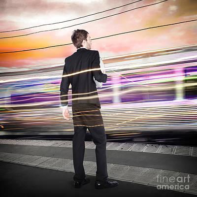 Business Man At Train Station Railway Platform Print by Jorgo Photography - Wall Art Gallery