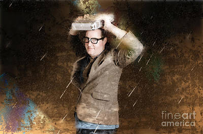 Business Man In Bad Weather Storm. Crisis Concept Print by Jorgo Photography - Wall Art Gallery