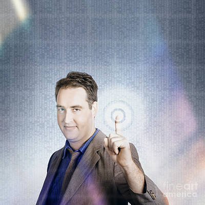 Business Man Pressing Digital Target Touch Screen Print by Jorgo Photography - Wall Art Gallery