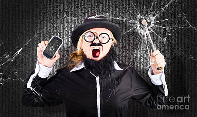 Business Man With Cracked Mobile Phone Screen Print by Jorgo Photography - Wall Art Gallery