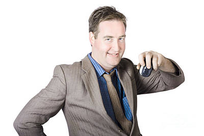 Hardware Photograph - Businessman Holding Computer Mouse by Jorgo Photography - Wall Art Gallery