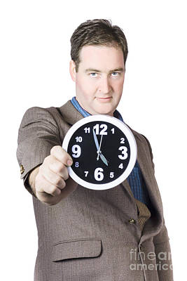 Businessman Showing Clock Print by Jorgo Photography - Wall Art Gallery