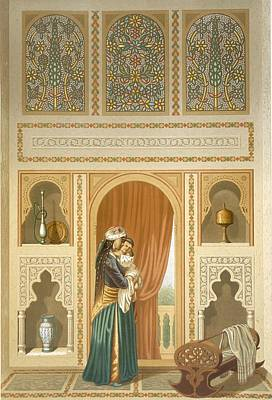 Egyptian Arabian Drawing - Cairo Interior Of The Domestic House by Emile Prisse d'Avennes