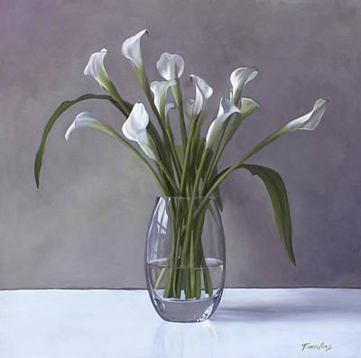 Calla Lilies In A Vase Print by Linda Tenukas