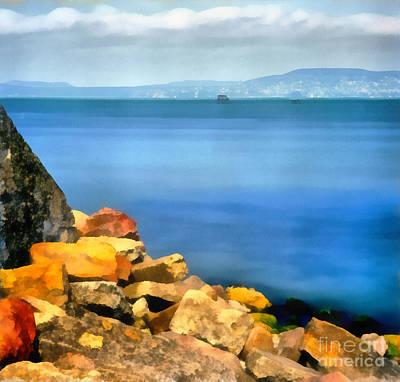 Water Filter Painting - Calm In Balaton Lake by Odon Czintos