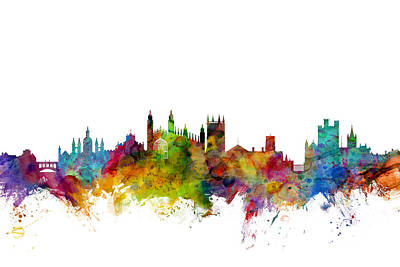 Cambridge Digital Art - Cambridge England Skyline by Michael Tompsett