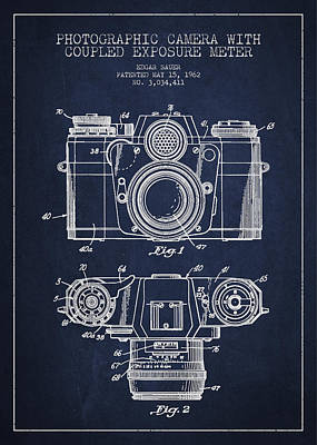 Film Camera Digital Art - Camera Patent Drawing From 1962 by Aged Pixel