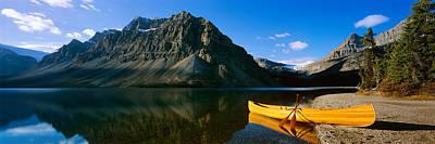 Bow Lake Photograph - Canoe At The Lakeside, Bow Lake, Banff by Panoramic Images