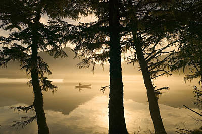 Canoeist On Mendenhall Lake In Morning Print by Michael DeYoung