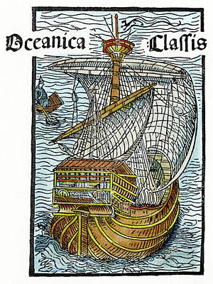 Caravel Lateen-sail, 1493 Print by Granger
