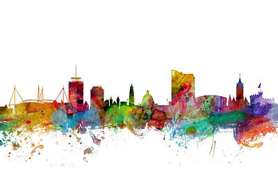 Wales Digital Art - Cardiff Wales Skyline by Michael Tompsett