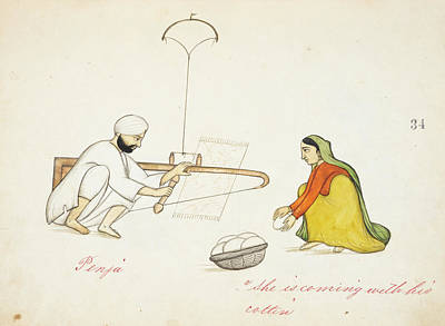 Carding Cotton Print by British Library
