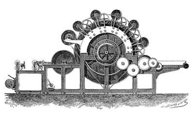 Carding Machine Print by Science Photo Library