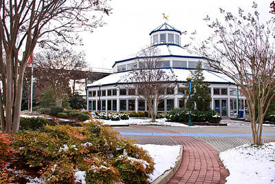 Gold Horse Photograph - Carousel Building In The Snow by Tom and Pat Cory
