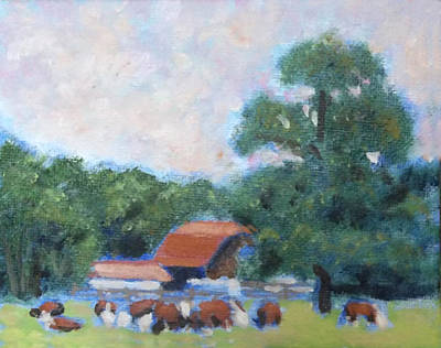Steer Painting - Carrboro Cattle by David Zimmerman