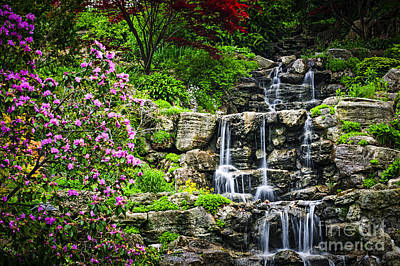 Cascading Waterfall Print by Elena Elisseeva