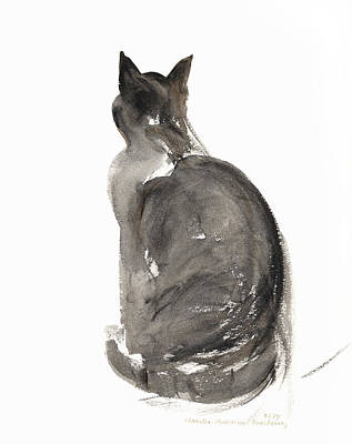Rear View Painting - Cat by Claudia Hutchins-Puechavy