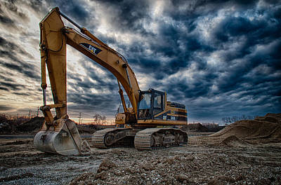 Construction Photograph - Cat Excavator by Mike Burgquist
