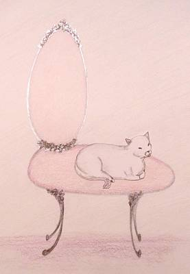 Cat On A Vanity Chair Print by Christine Corretti
