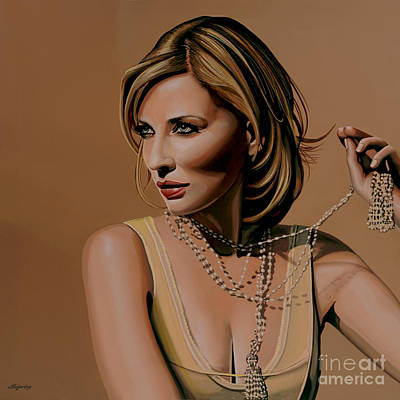 Aviator Print featuring the painting Cate Blanchett Painting  by Paul Meijering