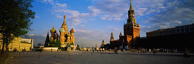 Onion Domes Photograph - Cathedral At A Town Square, St. Basils by Panoramic Images