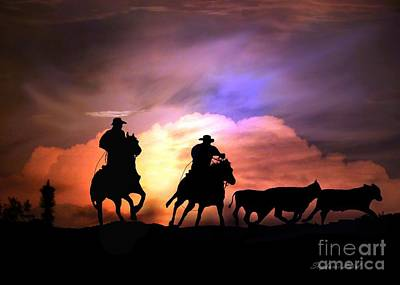 Cattle Drive Print by Stephanie Laird