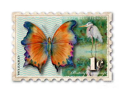 Great Blue Heron Painting - 1 Cent Butterfly Stamp by Amy Kirkpatrick