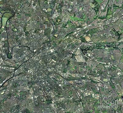 Central Manchester, Aerial View Print by Getmapping plc