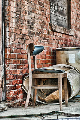 Brick Street Photograph - Chair by HD Connelly