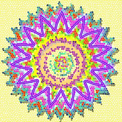 Chakra Energy  Mandala Ancient Healing Meditation Tool Stained Glass Pixels  Live Spinning Wheel  Print by Navin Joshi
