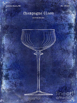 Champagne Glass Patent Drawing Blue Print by Jon Neidert