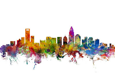 Charlotte North Carolina Skyline Print by Michael Tompsett