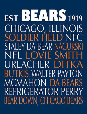 Soldier Field Digital Art - Chicago Bears by Jaime Friedman