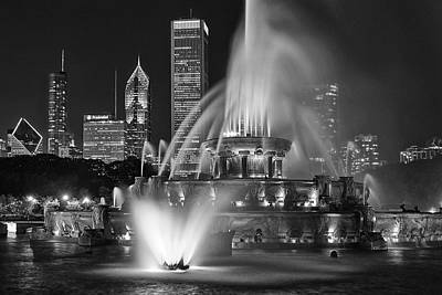Downtown Photograph - Chicago Fountain At Night by Andrew Soundarajan
