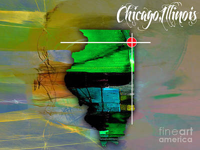 Chicago Skyline Mixed Media - Chicago Illinois Map Watercolor by Marvin Blaine