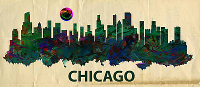 Chicago Skylines Print by MotionAge Designs