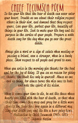 Chief Tecumseh Poem - Live Your Life Print by Celestial Images