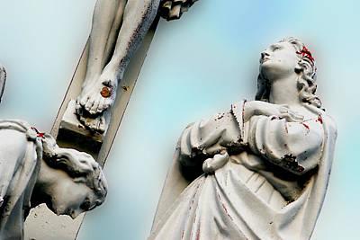Christ On The Cross With Mourners Saint Joseph Cemetery Evansville Indiana 2008 Original by John Hanou