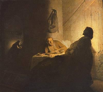 Jesus Christ Road To Emmaus Print by Rembrandt