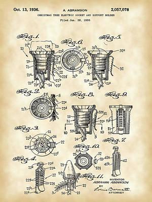 Christmas Bulb Socket Patent 1936 - Vintage Print by Stephen Younts