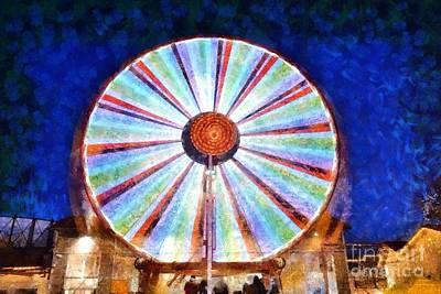Greek Painting - Christmas Ferris Wheel by George Atsametakis